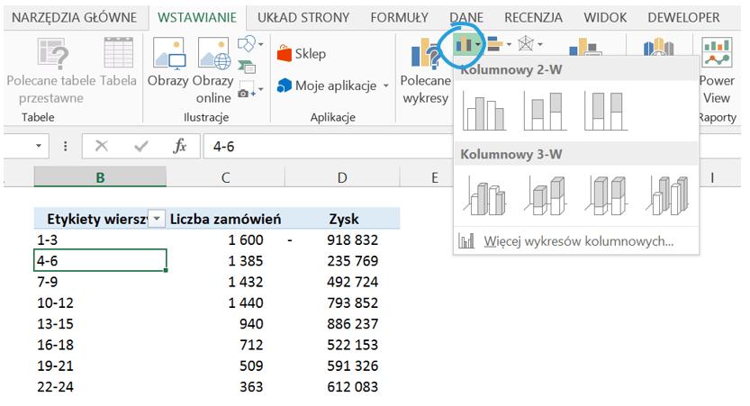 Dashboard analityczny wExcelu krok pokroku (cz.3 ) - histogram nawykresie przestawnym_5