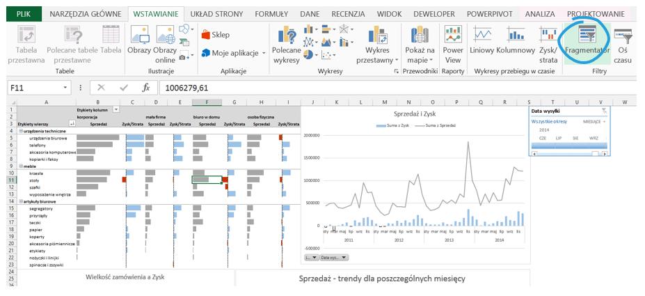 Dashboard analityczny wExcelu krok pokroku (cz.5 ) - oś czasu orazfragmentatory_5